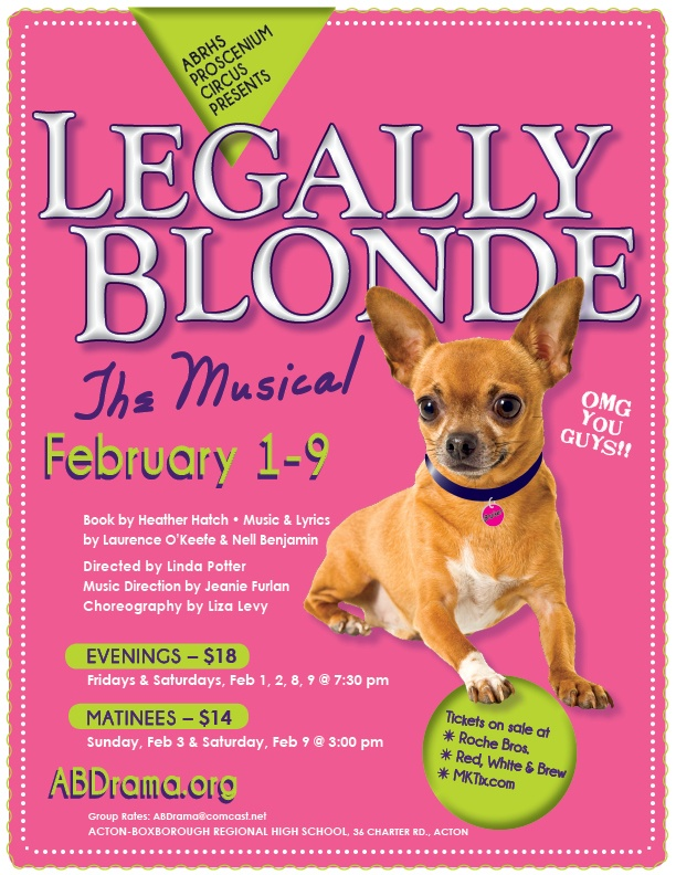 Poster for Legally Blonde, The Musical at ABRHS